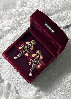 Gold rosary beads necklaces and cross earrings - D&G Jewellery | Jewellery Dolce&Gabbana