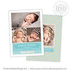 Danial Robert - Baby Announcement card template available through Jen Boutet Photography with your newborn portrait session in Charlottesville, Va. www.jenboutet.com