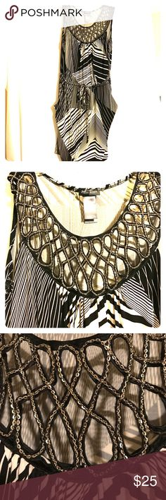 Jeweled Dress Absolutely gorgeous dress with jeweled neckline, ties at the waist, & front pockets Bisou Bisou Dresses