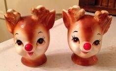 Vintage-Lefton-Rudolph-the-Red-Nosed-Reindeer-Salt-amp-Pepper-Shaker-Set-4370