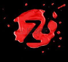Red blob Z letter over black background. Large resolution