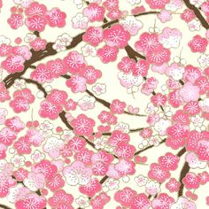 Papier Japonais Washi, sérigraphie de fleurs roses sur fond blanc - Adeline Klam