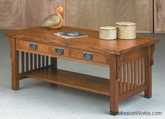 Anna Lee Collection Three Drawer Coffee Table :: Coffee Tables :: Living Room :: Amish furniture – Mission style furniture – American made furniture: The Mission Works Furniture Gallery