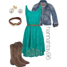 Blue Lace Dress by hannahtay96 on Polyvore featuring polyvore, fashion, style, Hollister Co., Gorjana and EWA Outfits With Cowgirl Boots, Country Dresses With Boots, Western Dress With Boots, Western Wear, Robes Country, Western Style, Country Girls Outfits, Cowgirl Style, Western Dresses