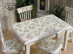 Dollhouse Kitchen Table With Chairs Shabby Chic Style by Minicler
