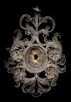antique+relic+theca+silver+filigree+S.CATHARINAE+DE+RICCI+18Th.+