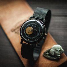 RARE original vintage soviet watch Raketa Copernik Moon + gift pin Kopernik, mechanical watch, black watch, Kopernik watch