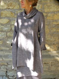 roll collar tunic from terry macey