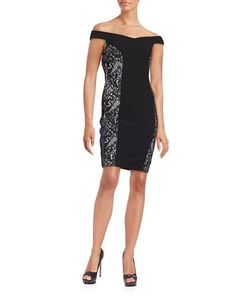 Guess Lace-Accented Off-the-Shoulder Sheath Dress Women's Black 14