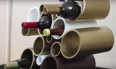Avec des tuyaux en PVC, il fabrique un rangement aussi original que fonctionnel pour les bouteilles de vin ! - Des idées