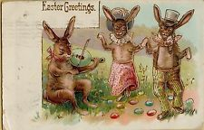 Vintage Easter Bunny Dancing 1908 Greetings Postcard Card Victorian Embossed//Two rabbits dancing and one playing a banjo