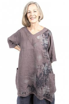 Crossover+Linen+Tunic+Printed-Blue+Fish+Clothing