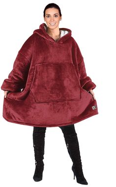Catalonia Oversized Hoodie Blanket Sweatshirt,Super Soft Warm Comfortable Sherpa Giant Pullover with Large Front Pocket,for Adults Men Women Teenagers Kids,Wine
