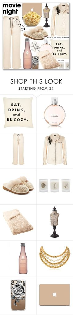"""""""Bring the Popcorn - Movie Night: 03/10/17"""" by pinky-chocolatte ❤ liked on Polyvore featuring Chanel, River Island, UGG, Elizabeth Scarlett, Improvements, Ben-Amun, Casetify, 3M and Kam Dhillon"""