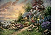 Thomas Kinkade Seaside Hideaway art painting for sale; Shop your favorite Thomas Kinkade Seaside Hideaway painting on canvas or frame at discount price. Thomas Kinkade Art, Kinkade Paintings, Oil Paintings, Thomas Kincaid, Art Du Monde, Art Thomas, Cottage Art, Beautiful Paintings, Oeuvre D'art