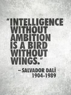 Intelligence without ambition is a bird without wings. - Salvador Dalie