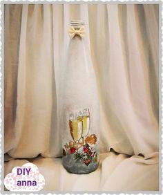 decoupage Christmas bottle DIY ideas decorations craft tutorial URADI SAM