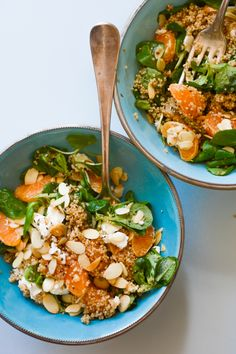 Quinoa, clementine & feta salad with lamb's lettuce & toasted almonds