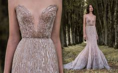 "Sexy rose gold and lavender gossamer wing-inspired wedding dress with plunging neckline and mermaid silhouette by Paolo Sebastian // Beautiful couture wedding gown inspiration from Paolo Sebastian's 2016/2017 Autumn Winter ""Gilded Wings"" collection"