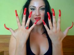 Long Red Nails, Long Fingernails, Curved Nails, Red Acrylic Nails, Exotic Nails, Nails Only, Nail Ring, Lipps, Sexy Nails