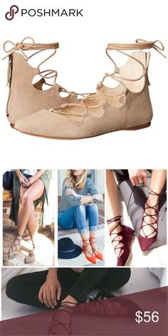 """NWOB {Nine West} 'Sign Me Up' Lace-up Sandal, $89 The Nine West Sign Me Up Sandals feature a Suede upper with a Open Toe . The Rubber outsole lends lasting traction and wear.  Condition: Brand New without box.  Brand Color: Dk Natu (Main Color: Beige) Material: Suede Measurements: 0.25"""" heel Width: B(M) Nine West Shoes Flats & Loafers"""