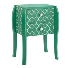 The Intelligent Design end table showcases an on trend quatrefoil pattern that makes any room have just the right amount of trend appeal. This table features hand-cast drawer pulls and two drawers for ample storage.