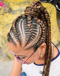 Braided Cornrow Hairstyles, Cornrows Updo, Feed In Braids Hairstyles, Braided Ponytail, Black Hairstyles, Cute Hairstyles, Little Girl Braids, Girls Braids, Natural Hair Braids