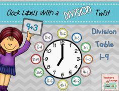 Clock Labels with a Division Twist - Math from TeachersLounge from TeachersLounge on TeachersNotebook.com (20 pages)  - These are bright and fun clock labels with a Division twist! Included are the division tables for 1-9