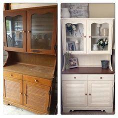 Ideas farmhouse style hutch decor for 2019 Refurbished Furniture, Paint Furniture, Upcycled Furniture, Refurbished Hutch, Kitchen Cabinets Models, Kitchen Models, Kitchen Hutch, Hutch Makeover, Furniture Makeover