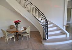 Paris on the Texas Coast ~ French Design In & Around Houston ~ See it, buy it, live it Stair Railing, Stairs, Railings, Doors And Floors, Staircase Remodel, Arched Windows, Floor Finishes, Next At Home, Bay Window