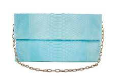 SALE Aqua blue Python leather clutch with an brass by MoradoBags