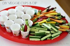Squirt a combo of Ranch dressing + plain yogurt (and spices if you like) into Dixie cups. Then let kids mix & match their own portable veggie cups.