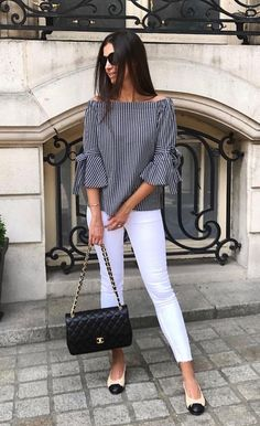 Best 12 Neb_Chic_Fashions – Off shoulder striped top w/ wrist tie – SkillOfKing. Stylish Work Outfits, Casual Outfits, Cute Outfits, Modest Outfits, Mode Chic, Mode Style, Blouse Styles, Blouse Designs, Look Fashion