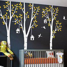 Three Trees With Birds And Birdhouse Sticker