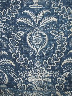Antique French 18th century Indigo Blue resist quilt . . .