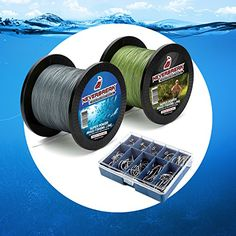 Neverbreak More Fish Maximum Power Braided Fishing Line Set 500M 550 Yards and 300M 328 Yards Braided Fishing Two Spool Super Pack Very Resistant  70 Free Fishing Hooks 300M and 500M *** Learn more by visiting the image link.