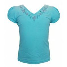 Lief shirtje in hemelsblauw met geborduurde bloempjes - Eternal Creation t-shirt blauw #kinderkleding