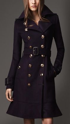 tailored angular coats with bold buttons and belt are perfect for you!  The buttons add a degree of curve and drama.
