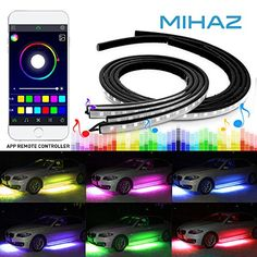 4 pcs Mihaz Upgraded Car Underglow Light, LED Glow Under Car Lights Strip Sound Actived Underglow Lighting Kit Function Running RGB Colors Strips App Control Atmosphere Lights. For product info go to:  https://www.caraccessoriesonlinemarket.com/4-pcs-mihaz-upgraded-car-underglow-light-led-glow-under-car-lights-strip-sound-actived-underglow-lighting-kit-function-running-rgb-colors-strips-app-control-atmosphere-lights/
