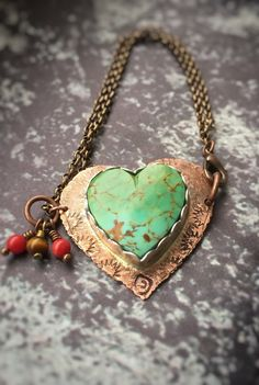 Turquoise Heart Copper Bracelet Statement Jewelry by BonfireDesign