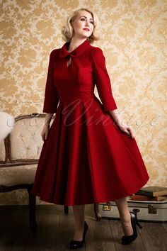 Vintage Inspired Cocktail Dresses, Party Dresses 50s Florence Velvet Swing Dress in Burgundy £48.50 AT vintagedancer.com