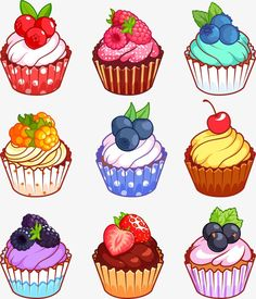 Vector Fruit Cupcake, Cupcake Clipart, Fruit Cupcakes, Cup Cake PNG Transparent Clipart Image and PS Cute Food Drawings, Cute Kawaii Drawings, Kawaii Art, Easy Drawings, Cartoon Cupcakes, Cupcake Kunst, Cupcake Art, Cupcake Drawing, Fruit Cupcakes