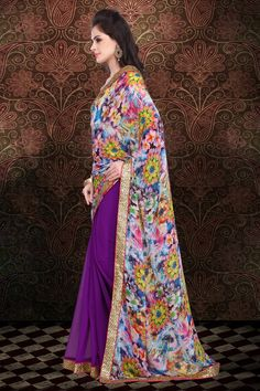Paint the town #Violet from this #AllNew Collection of #SareesOur Price: INR 1,099 (64% OFF)Shop Now: http://www.admyrin.com/catalog/product/view/id/24301/s/violet-georgette-digital-printed-saree-with-brocade-blouse-piece/category/392/View Entire Collection: http://www.admyrin.com/catalogs/colors.html#Saree #Sari #Casual #OfficeWear #COD #NewArrivals