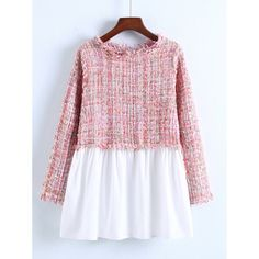 Shop 2 In 1 Tweed Babydoll Blouse online. SheIn offers 2 In 1 Tweed Babydoll Blouse & more to fit your fashionable needs. Tweed, Estilo Fashion, New Fashion, Fashion Trends, Shirt Sleeves, Long Sleeve Shirts, Long Blouse, Fashion Colours, Blouse Designs