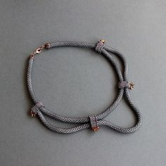 """""""Everyday Princess"""" necklace by fire82 on biser.info. """"Knitted cords"""" with superduo embellishment."""