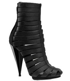 isadora elastic gladiator bootie black elastic with black suede trim black lacquered faceted cone-shaped heel Fly Shoes, Cute Shoes, Me Too Shoes, Dream Shoes, Crazy Shoes, Heeled Boots, Shoe Boots, Cinderella Shoes, Bootie Sandals