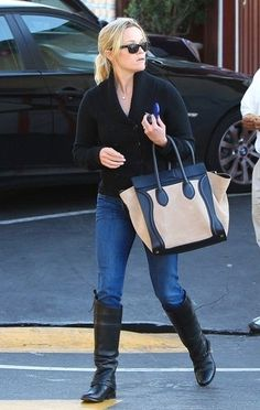 de40c26e3595 Reese Witherspoon  Reese opted for the two-tone Céline luggage tote.