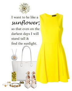 """""""Sunflower"""" by nemesisktn ❤ liked on Polyvore featuring Collette Z, Versace, Gianvito Rossi, CellPowerCases, Shamballa Jewels and Alex and Ani"""