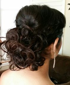 Low bun with curls for long to medium length hair. Bridal, prom, homcoming on Pin & Blend on FB. wedding hairstyle