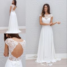 Wholesale simple wedding gown, unique wedding gowns and vintage wedding dresses for sale on DHgate.com are fashion and cheap. The well-made hot modest boho beach wedding dresses backless 2016 china lace custom made sheer neck plus size cap sleeves simple chiffon long bridal gowns sold by weddingplanning is waiting for your attention.